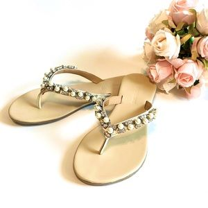 NWT Leather Jewel Embellished Thong Sandal ✨ 💎